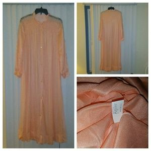 Vintage Kayser Silky Peach Robe with Lace Med